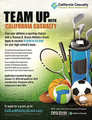 Team Up with California Casualty and Apply for the Thomas R Brown Athletics Grant
