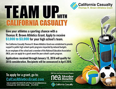 Team Up with California Casualty for a Thomas R Brown Athletics Grant