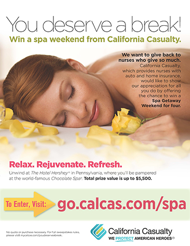 California Casualty's Give a Nurse a Break Spa Giveaway Flyer