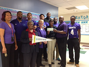 The South Atlanta Educational Complex High School football team, winners of a California Casualty Thomas R. Brown Athletics Grant