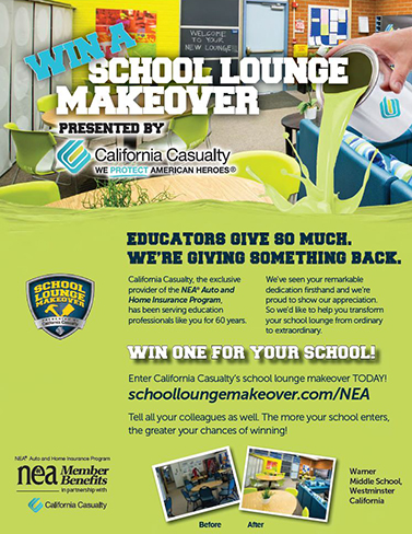 California Casualty School Lounge Makeover Flyer