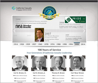 California Casualty's 100th Anniversary Website